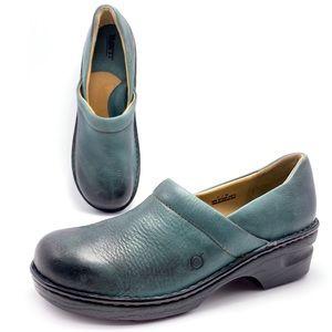 Born Green Leather Slip On Clogs 11M